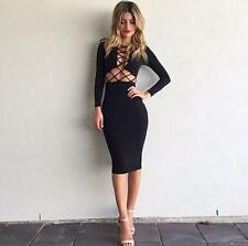 Sexy Evening Cocktail Party Dress Women Casual Club Bodycon Long Sleeve