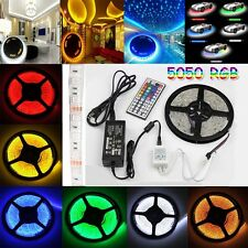 5M RGB 5050 SMD 150/300 LED Light Strip +24/44IR Remote 12V power Supply