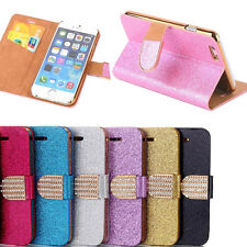 Shiny Leather Magnetic Flip card Bling Wallet Cover Case For Smart Phones