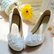 Pearl White Lace Flower Bridal Wedding Shoes High Heels Flat Platform 011 O