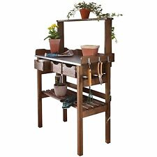 Garden Potting Table Flowers Plants Wood Greenhouse Bench Staging Drawers Hooks