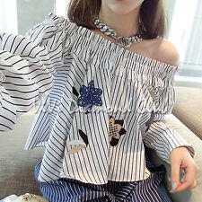 Fashion Korean Style Trendy Women Sexy Off Shoulder Embroidery Blouse Shirt Tops