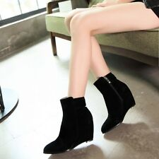 Women Fashion Pointy Toe Wedge High Heel Zipper Chelsea Ankle Boots Shoes AU