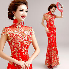 Chinese Cheongsam Mermaid Red Lace Embroidery Prom Party Wedding Ball Gown Dress