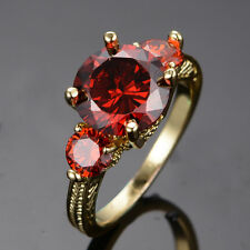 Noble 3 Stone Ruby Jewelry Women's 10kt Yellow Gold Filled Wedding Ring Size 6-9