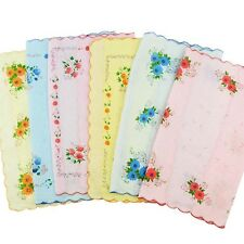 New Women Child Pure Cotton Flower Vintage Handkerchiefs Quadrate Hankies 12Pcs