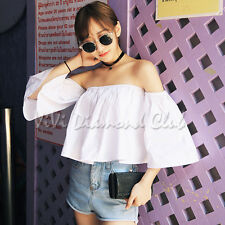 Fashion Korean Style Trendy Sexy Summer Off Shoulder Ruffle Blouse Shirt Tops F