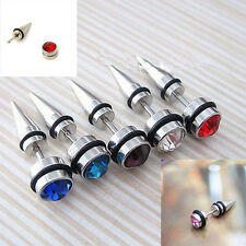 Men Gothic Stainless Steel Crystal Rivet Ear Pierced Stud Earrings Spike Jewelry