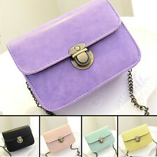 Women Messenger Chain Shoulder Bag PU Leather Mini Crossbody Casual Pure Color