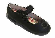 Hello Kitty School Shoes Black Faux Leather Smart Formal Shoes Velcro Strap Size