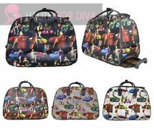NEW WOMEN'S TRAVEL HOLDALL MOTO GIRLS PRINT HOLIDAYS WHEELED SUITCASE LUGGAGE