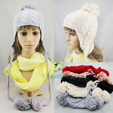 Stylish Women Girl's Beanies Winter Wool Knit Baggy Earflap Hat Ski Cap Pom Pom