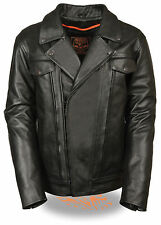 Mens Black Leather Motorcycle Jacket w/ Dual Side Utility Pockets **TALL SIZES**