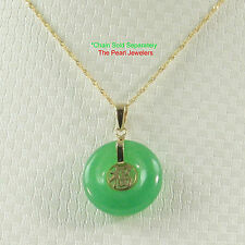 14k Solid Yellow Gold BLESSING; 16mm Donut Shape Green Jade Pendant Necklace TPJ