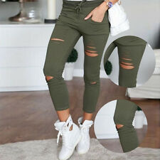 Women Distressed Ripped Hole Jeans Stretch Slim Pencil Pants Trousers Leggings
