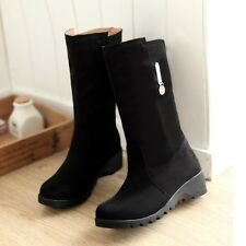 New Fashion Simple Womens Mid-calf Boots Micro suede Snow Boots hidden Heel