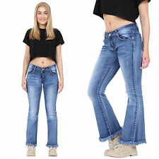 New Womens Bootcut Flared Hipster Jeans Blue Faded Flares Frayed Ends Short Leg