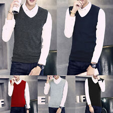 Mens Slim Fit Sleeveless V-Neck Knit Casual Jumper Sweater Cardigan Vests Tops