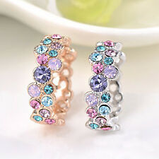 Fashion Women 925 Sterling Silver Crystal Ring Colorful Jewelry Wedding Ring