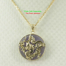 14k Yellow Solid Gold Dragon 20mm Tablet Disc Lavender Jade Pendant TPJ