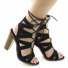 Chunky Heel Lace Up Sandals Open Toe Cutout High Heel Womens Gladiator Shoes