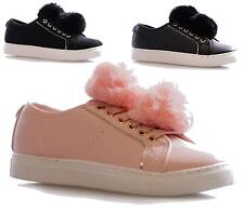 New Womens Ladies Pom Pom Trainers Hi Skaters Lace Up Sneakers Casual Shoes Size