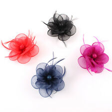 Handmade Wedding Races Sinamay Fascinator Church Derby Flower Feather Mini Hat