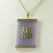 14k Yellow Gold Good Fortune on 24 x 35 mm Lavender Jade Oriental Pendant TPJ