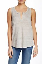 NWT $85 VINCE LINEN SPLIT NECK TANK TOP HEATHER GREY S M