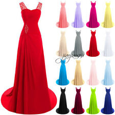STOCK Sequineds Formal Long Bridesmaid Dresses Prom Party Ball Evening Gown 6-20