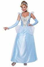 Deluxe Cinderella Costume Adult Fairy Tale Princess Ball Gown Fancy Dress M XL