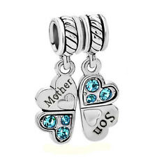 Sterling Silver Mother Son Heart Clover Dangle Bead for European Charm Bracelets