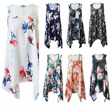 WOMEN HANKY HEM TOP LADIES LONG SLEEVELESS SCOOP NECK VEST TOP FLARED SWING