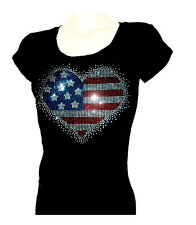 Women's  T-shirts rhinestones Iron on 4Th of July USA Heart  Small to 3XL