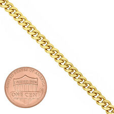 Men's 4mm 14k Yellow-Gold-Plated Miami Cuban Link Curb Chain Necklace