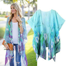 Fashion Womens Summer Print Kimono Loose Cardigan Chiffon Tops Cover up Blouse