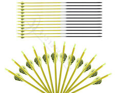 31'' Yellow 2'' Plastic Fletching Archery Hunting Carbon Arrows Screw Tip SP 500