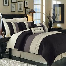 8pc Modern Black Colorblock Hudson Luxury Comforter Set Bed in a Bag ALL SIZES