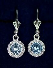 14k White Gold Halo Dangle Round Leverback Pierced Earrings Birthstone