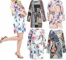 Womens Floral Print Cut Out Shoulder Belted Long Sleeve Ladies Chiffon Dress 814