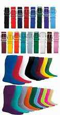 NEW! 1 Belt & 2 Pair Solid Basebal / Softball Sport Socks in Your Color/Size!