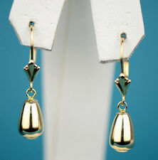14k Yellow and White Gold Dangle Polished Leverback Pierced Earrings