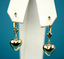 14k Yellow and White Gold Dangle Polished Heart Leverback Pierced Earrings