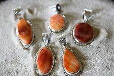 Orange Spiny Oyster Pendant In Sterling Silver - Various Shapes Available