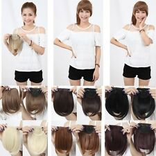 Beauty Lady Clip In On Hair Extensions Front Fake Fringe Bang Human Hairpiece f4