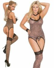 Sexy Animal leopard print cami suspender top stockings Sizes 8-16 thong lingerie
