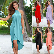 Sexy Ladies Summer Irregular Hem Long Maxi Evening Party Dresses Beach Dress New