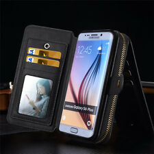 Luxury PU Removable Flip Zipper Wallet Case Purse Card Holder For Samsung iPhone
