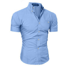 Casual Stylish Men's Pure Color Casual Shirt Slim Fit Short Sleeve Dress Shirts