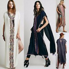 LOOSE Long COTTON Hippie BEACH Dress Cloak |Flower ETHNIC Embroidered| PLUS SIZE